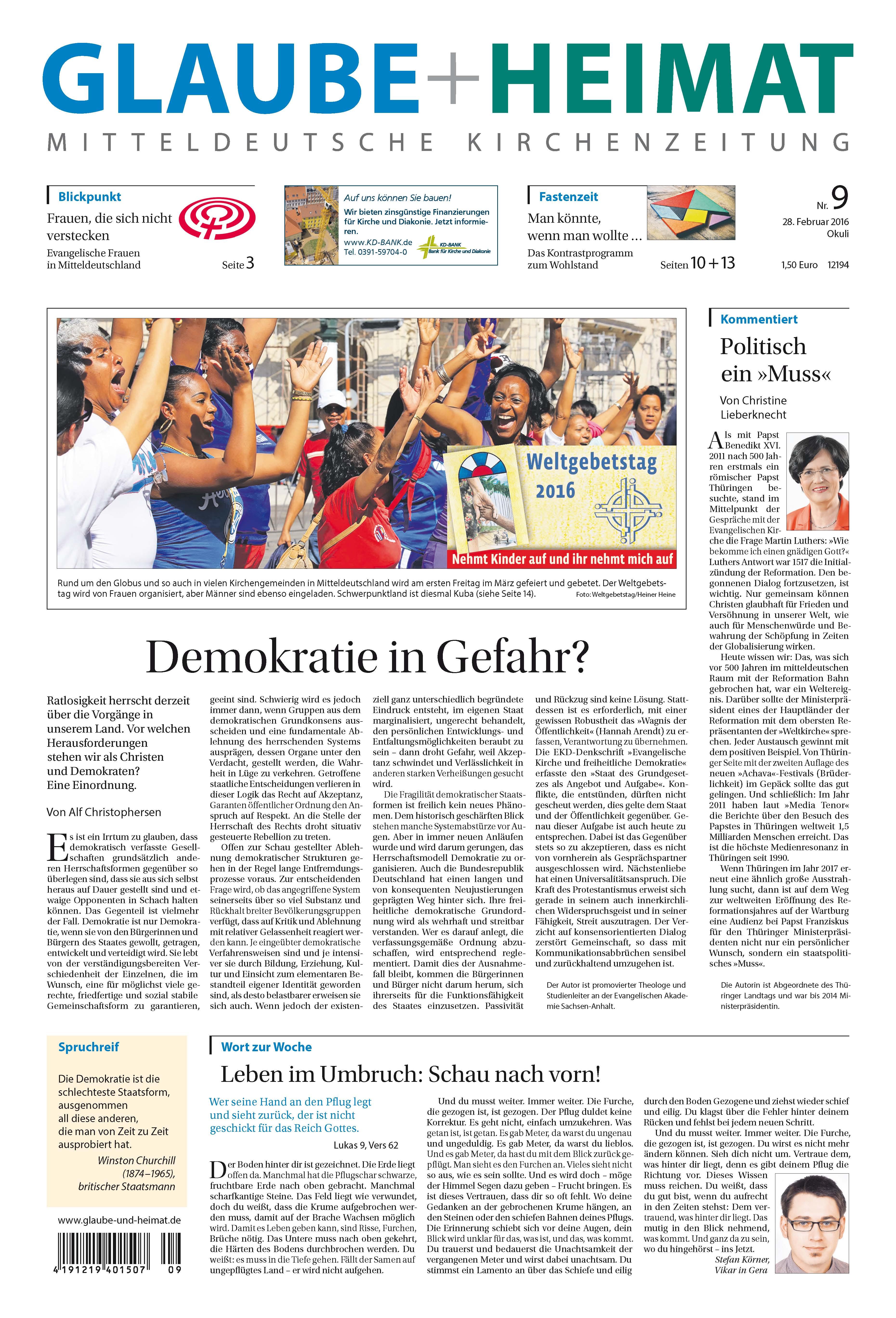 Glaube und Heimat - Leseprobe, die Evangelische Kirchenzeitung für Mitteldeutschland